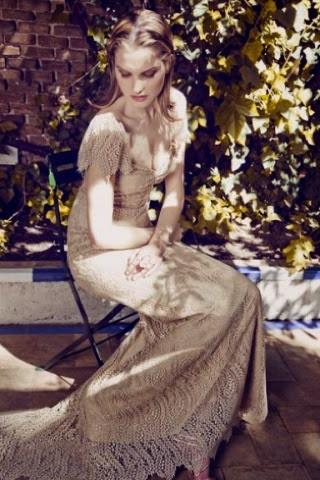 Vestido largo crema Dolores Promesas