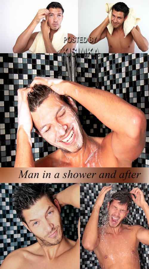 Stock Photo: Man in a shower and after