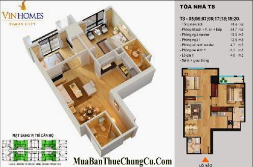 Bán chung cư Times City T8 T9 T11 căn 02 phòng ngủ