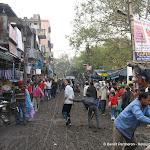 Une rue de Kotla Mubarakpur après une averse
