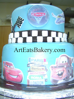 Two tier boys custom Cars2 blue fondant birthday cake