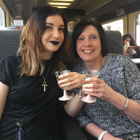 My sister, Sophie and my mum on the train to York.
