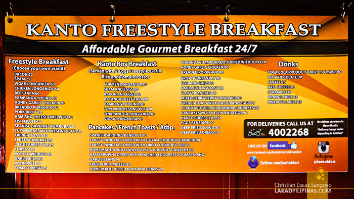 Mandaluyong's Kanto Freestyle Breakfast Menu