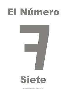 Lámina para imprimir el número siete en color gris