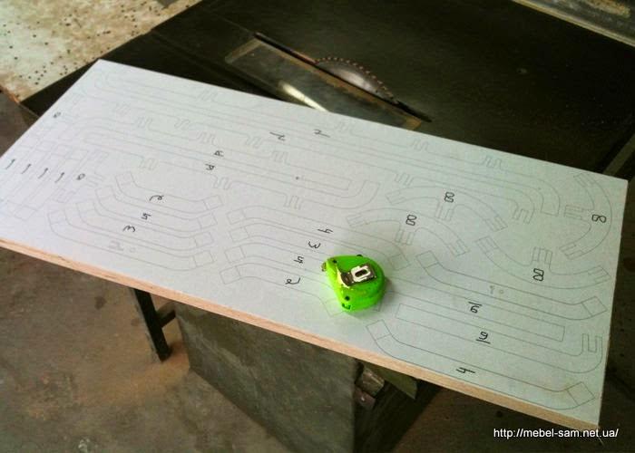 Раскрой деталей стула на листе фанеры