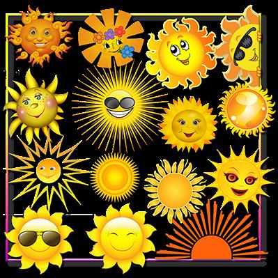 Grafica - ClipArt Raccolta 58 immagini di Sole F.to PNG con trasparenza