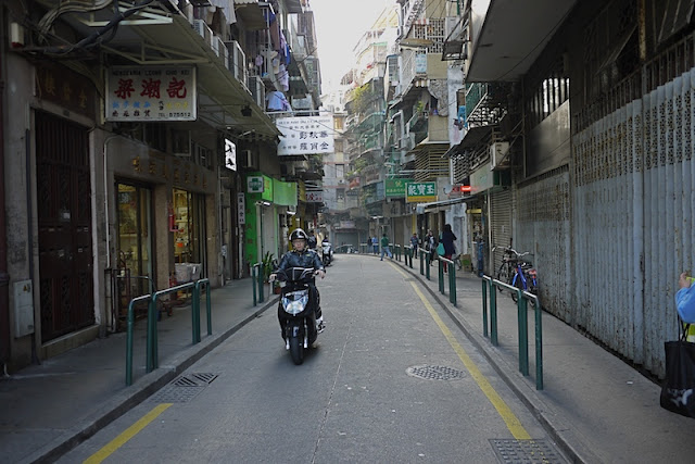 motorbike on street in Macau