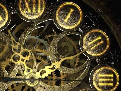 close up detail of metal clock works