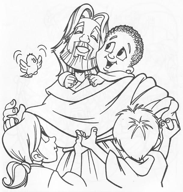 Cristo y los niños para colorear