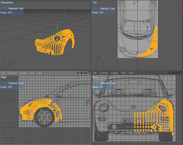 All tutorials modeling a car using blueprints above you can see i have added points around the front fender and grill its not quite to the blueprint but i want a slightly different look wider nose malvernweather