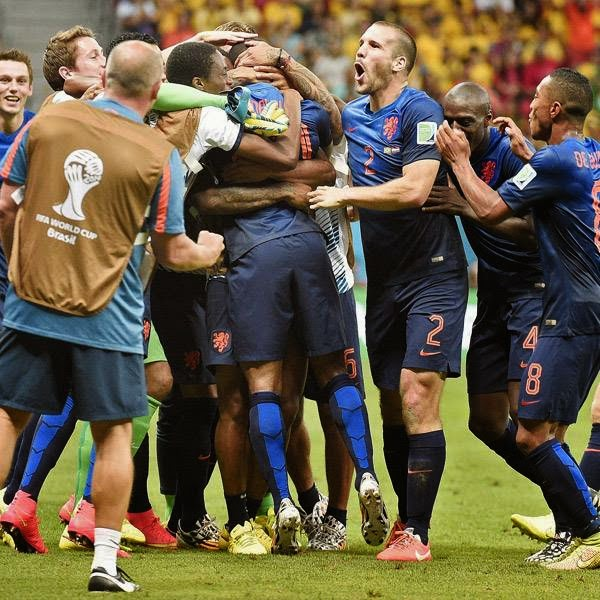 Netherlands' players celebrates scoring during the third place play-off football match between Brazil and Netherlands during the 2014 FIFA World Cup at the National Stadium in Brasilia on July 12, 2014.