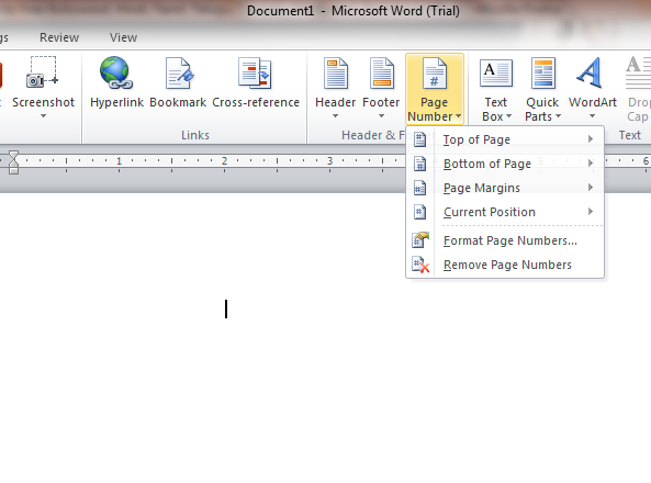 word 2010 how to add page numbers