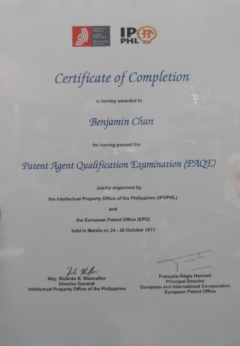 Dr. Benjamin Chan's Patent Agent Qualification Examination certificate of completion