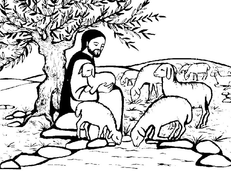 Imagenes de Jesús pastor para colorear