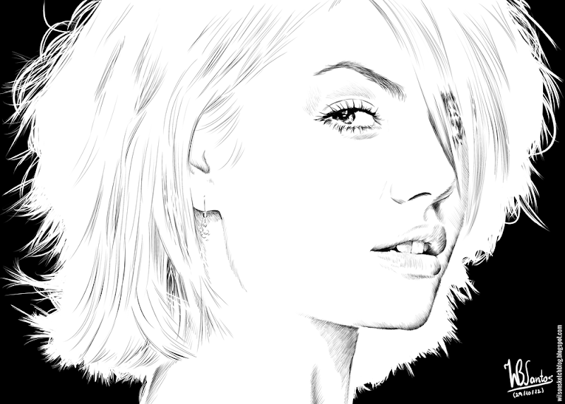 Ink drawing of Elisha Cuthbert, using Krita 2.4.