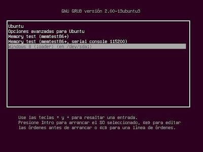 Verificar arranque dual de Windowws 8 o Linux, verificar particiones creadas
