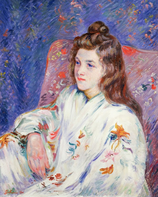 Armand Guillaumin - Portrait of Mlle. Guillaumin in a kimono