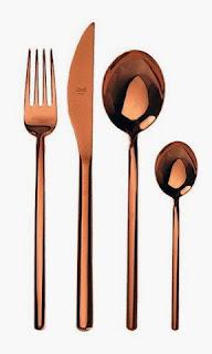 cubertería de cobre