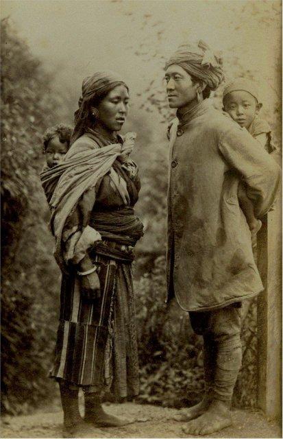 Vintage Photograph of a Tibetan Family - 1870