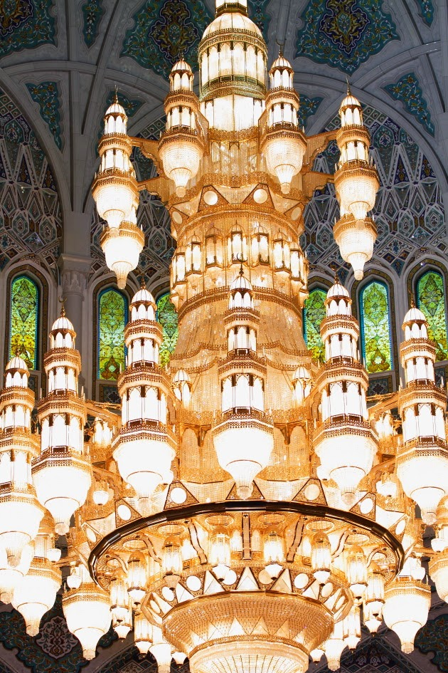 Beautiful Chandelier inside Sultan Qaboos Grand Mosque of Muscat, Oman