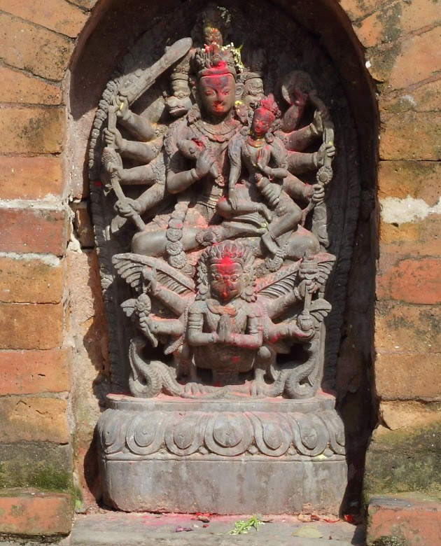 Maha Vishnu with Maha Lakshmi at Changgu Narayan Temple, Nepal
