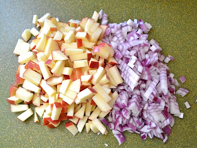 diced apple onion