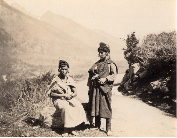 Albumen Photograph of Khas Women from Nepal Wearing Nose Rings - 1880's