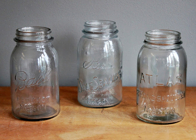 Antique quart-sized mason jars available for rent from www.momentarilyyours.com, $1.00 each.