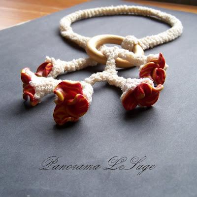 Wabik Naszyjnik szydełkowy z kwiatkami z masy polimerowej fimo biżuteria szydełkowa naszyjnik kolczyki Panorama LeSage