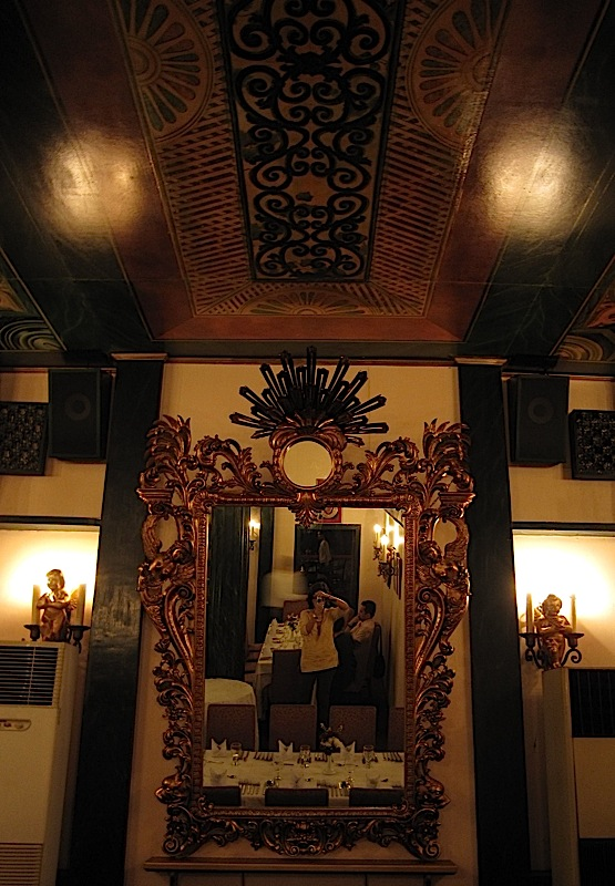 ornate mirror at Café Ysabel