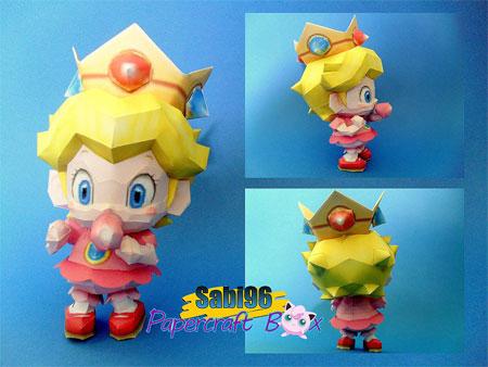 Mario Super Sluggers Baby Peach Papercraft