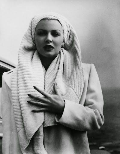Lana Turner with towel.