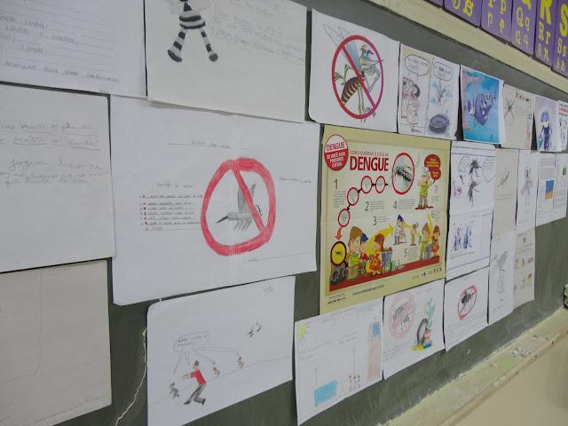 Alguns dos cartazes feitos pelos alunos sobre a Dengue. Foto: André Rossi