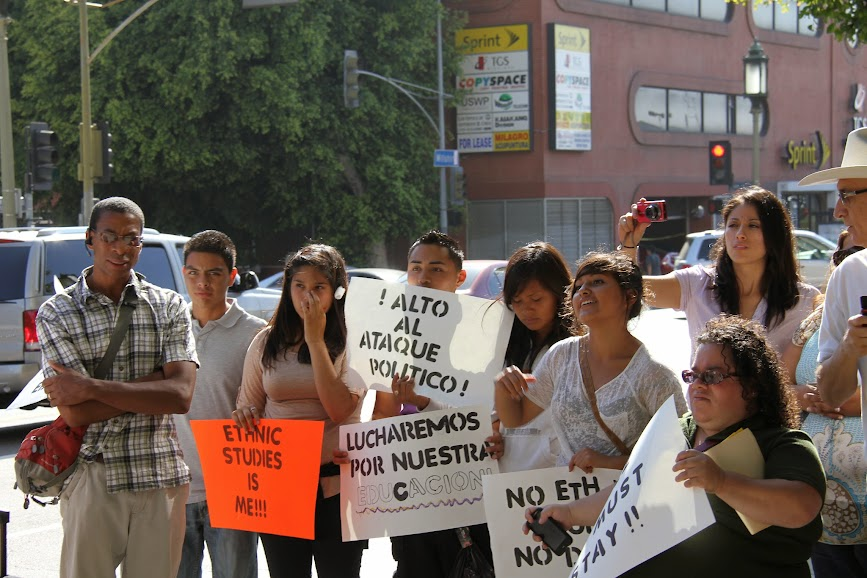 Los Angeles Students and Community Protesting Marshall Tuck's racist decision to kill Ethnic Studies at Partnership for Los Angeles Schools. Photo by Robert D. Skeels.