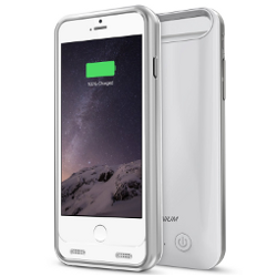 iPhone 6 Battery Case , Trianium Atomic S Portable Charger iPhone 6 Battery Case (4.7 Inches) [White/Silver] [LIFETIME WARRANTY] - 3100mAh MFI Apple Certified External iPhone Charger Protective iPhone 6 Charger Case / iPhone 6 Charging Case Extended Backup Power Bank Battery Pack Cover Cases Fit with Any Version of Apple iPhone 6 - image