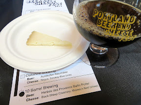 Portland Beer and Cheese Festival, beer and cheese pairing, The Commons Berwery, Steve's Cheese, 10 Barrel Brewing Herbes des Provence Baltic Porter, paired with Black Sheep Creamery Mopsey's Best, raw sheep, Washington