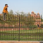 Un petit indien sur la grille du Lal Qila (Red fort), Delhi