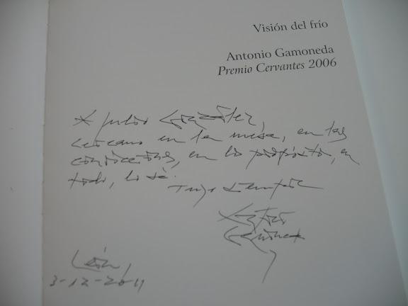 Dedicatoria de Antonio Gamoneda a Julio González en Visión del Frío