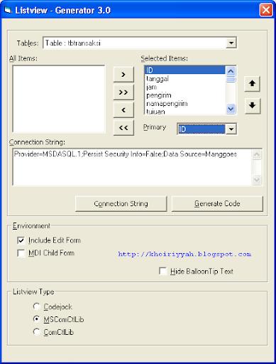 VB6 Listview Generator - Memilih ID