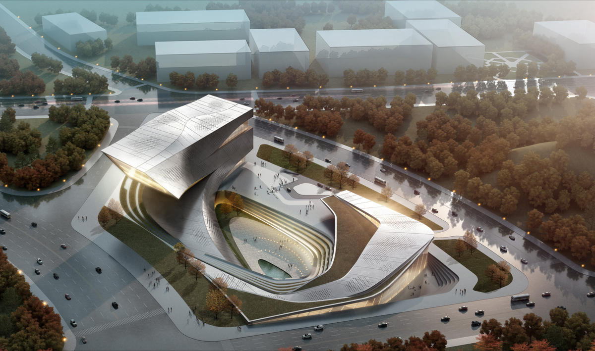 230号-260号 Huanghe Rd, Xigang, Dalian, Liaoning, Cina, 116000: Dalian Library And Media Centre by 10 Design