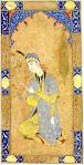 نقاشی مینیاتور ایرانی دختر نشسته گل به دست سبک مکتب صفوی safavid style in persian iranian miniature painting