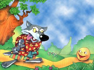 Катится колобок по трапинке, а навстречу ему серый волк