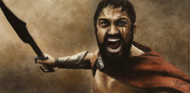 Digital painting of King Leonidas roaring, using Krita 2.5 Alpha.