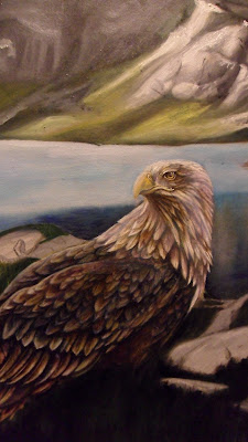 Work in Progress, Colour level 2. Source shows close up of Resting white-tailed eagle.