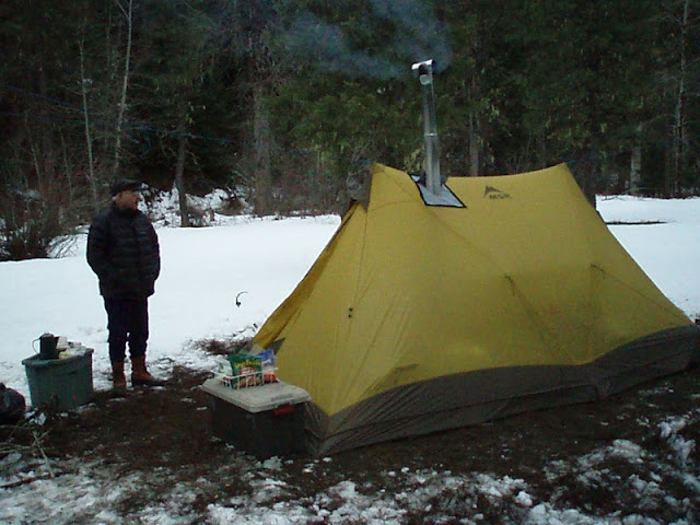 the hot tent pictures is an MSR twin brother 4 with Ti-Goat stove jack panel sewed in and paired with a Kni-co Packer stove. Stove weighs 12 pounds ... & Grand Canyon Wood Stove!! - Mountain Buzz