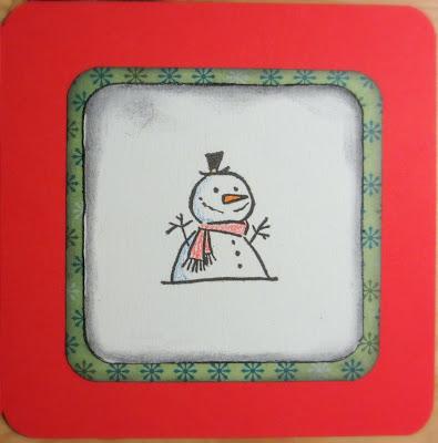 Punainen lumiukkokortti