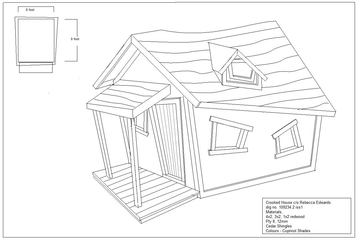 Crooked house playhouse plans woodworking plans for Playhouse plans free