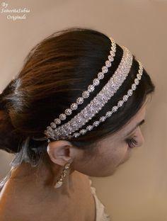 Bridal Rhinestone Headband Bling Sparkle por SrtaSubiaOriginals, $55.00