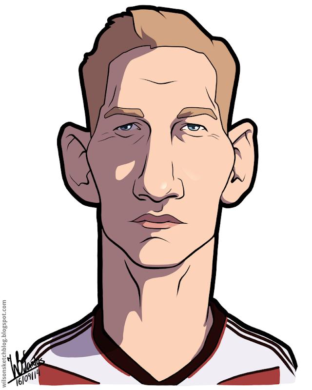 Cartoon caricature of Bastien Schweinsteiger.