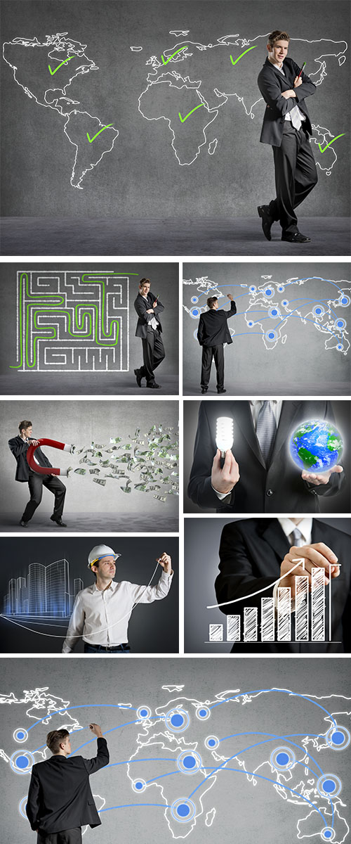 Stock Photo: Businessman connecting the dots